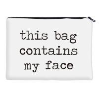 Simple White Polyester Women Makeup Bags with Printed Letter