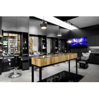 Buy cheap Special Hairdressing salon interior fits out in Pine wood wall cabinets and Black metal shelves with Massage chair from wholesalers