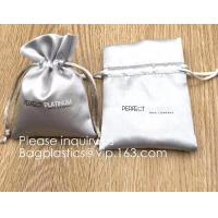 Buy cheap Custom Gold Pink Satin Hair Extension Packaging Bag,Soft And Shinny White Silk Drawstring Pouch For Packaging bagease from wholesalers