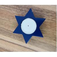 Buy cheap 3.8x1.5cm 10gram  paraffin white unscented  tealight candle with blue holder from wholesalers