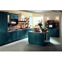 Buy cheap Blue-green European-style classic membrane-pressed kitchen cabinet Country style flat kitchen from wholesalers