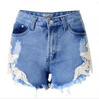 China Short Denim pants for women with lace on sale