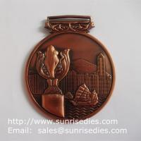Buy cheap 3D embossed medals and medallions, personalized metal medal with ribbon lace from wholesalers