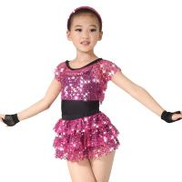 Buy cheap Children Girls Dance Outfit Sequin Jazz Dance Clothes Sleeveless With Tank Top Tiers Skirt Black Leotard from wholesalers