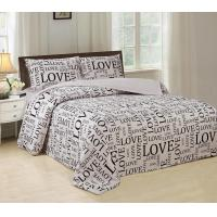 Buy cheap Silky Bed Sheet 4 Piece Bedding Set Luxurious With English Letters Printed from wholesalers