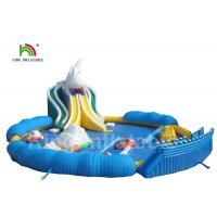 Buy cheap White Shark Theme Inflatable Water Parks With Round 25m Diamter Swimming Pool from wholesalers