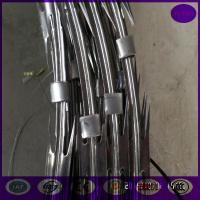Buy cheap 10 meter /roll Electro Galvanized concertina cross Razor barbed wire from wholesalers