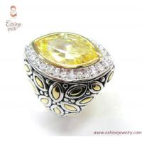 Buy cheap Brass finger Ring by Designer inspired bali gold marquise style + yellow CZ + Black enamel from wholesalers