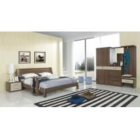 Buy cheap Walnut wood home bedroom furniture sets by curved headboard bed and full mirror stand product