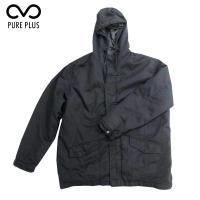 Buy cheap Black Mens Padded Jacket With Fur Hood Polyester Polar Fleece Lining from wholesalers