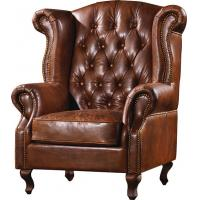 Double Cushion High Back Leather Armchair Strong Metal