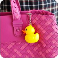China Environmental rubber LED Yellow little cute duck sound & flash light key chain on sale