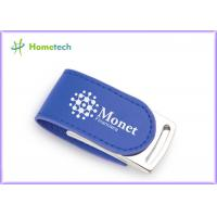 Buy cheap CE Blue Eco Leather USB Flash Disk 4GB For Promotional Product product