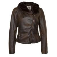 Buy cheap Ladies Brown Leather Jacket / Outerwear For Winter / Autumn product