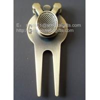 Buy cheap Antique brass golf pitchmark repairer, affordable metal golf divot tool gold pitchforks, from wholesalers