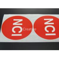 Buy cheap Pvc / Pp / Vinyl Customized Label Stickers Printed Red Round product