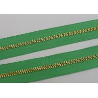 Luggage / Handbags Long Chain Zipper 5# / 8# Gold Teeth 50m In One Roll Green Tape