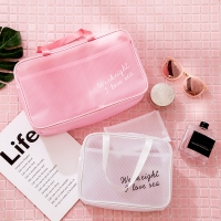 Buy cheap Pure Color Travel Portable Handle PVC Cosmetic Vanity Bag from wholesalers