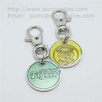 Buy cheap Glass enamel metal coin key tags, glass enamel supermarket trolley coin holders, from wholesalers