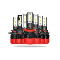 China All In One LED Car Headlight Bulbs High Low Beam With Black Red Housing on sale
