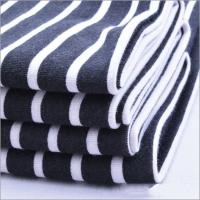 Buy cheap Rusha Textile   Black White Stripes Printed Spandex Poly Spun Single Jersey Polyester Fabric from wholesalers
