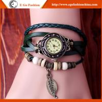 Buy cheap Leaf Pendant Watch Bracelet Watch Girl Female Leather Watch Unisex Quartz Retro Watches from wholesalers