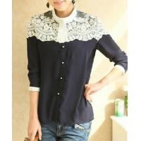 Buy cheap women lace patchwork blouse shirts Cape-style chiffon casual shirt stitching lady clothing from wholesalers