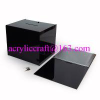 Buy cheap Black acrylic coin box / desk top cube acrylic ballot box with lock and key from wholesalers