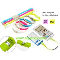 Buy cheap Promotion gift date charging line with silicone wristband with wholesale price from wholesalers