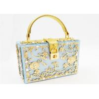 Buy cheap Light Blue Sparkly Glitter Acrylic Clutch With Gold Rhinestone And Handle from wholesalers