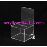 Buy cheap Lockable clear acrylic ballot box / suggestion box / donation box with sign holder from wholesalers