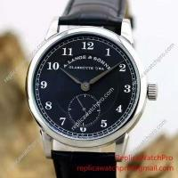 Buy cheap A. Lange & Sohne Watch Black Dial with Black Leather Band from wholesalers