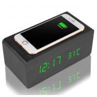 China Universal Creative Desktop Charging Station Wooden Case With LED Alarm Clock on sale