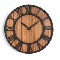 Buy cheap Oversize Metal Retro Black Rustic Farmhouse Shabby decorative wall clock Chic Design Wood Clock for Wall Decor from wholesalers