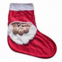 Buy cheap Christmas Stocking with Santa Clause Design, Comes in Red Colors, Made of Plush Material from wholesalers