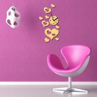 Buy cheap heart shaped wall clock diy mirror wall sticker clock from wholesalers