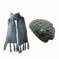 Buy cheap Scarf Set with Hat, Suitable for Women, Made of Acrylic, Various Designs are Available from wholesalers
