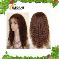 Buy cheap Fashionable 14 inch Kinky Curl Light Brown Color Indian Human Hair Full Lace Wig from wholesalers