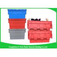 Buy cheap Red Plastic Attached Lid Containers / 43L Plastic Storage Bins from wholesalers