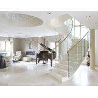 Buy cheap Stainless steel straight staircase with marble tread glass balustrade product