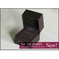 Buy cheap Designer brown PU Light packing Lighted Ring Boxes, diamond ring box and wedding ring presentation boxes from wholesalers