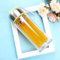 Buy cheap Environmental 350ml Double Wall Glass Bottle With Tea Infuser , Easy Cleaning from wholesalers