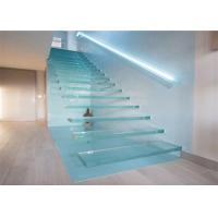 Buy cheap Glass Led Staircase Modern Straight Floating Stairs With Laminate Glass Steps from wholesalers