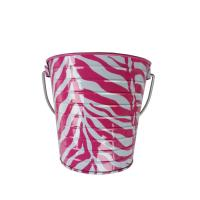 Buy cheap Metal Pail 5 x 5.6 Zebra Printed Tin Metal Bucket With Handle from wholesalers