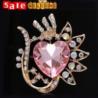 Buy cheap Golden Heart Glass Flower Brooch ,Large Crystal Stone Flower Scarf Clip Pashmina Brooch from wholesalers