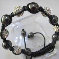Buy cheap Wholesale Female Elegant Shamballa Crystal Ball Bracelet with Charming Black Stones from wholesalers
