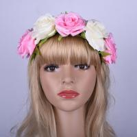 Buy cheap Ladies Fabric Bride Bow Hair Bands And Hair Accessories With Double Colored Rose Flowers product