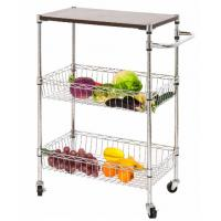 NSF Restaurant Kitchen Use 3 Layers Wire Utility Cart Basket , Rolling Kitchen Utility Cart