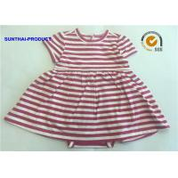 Buy cheap Short Sleeve Newborn Baby Girl Dresses , 100% Cotton  Baby Girl Striped Dress from wholesalers