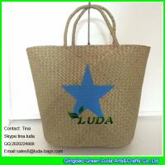 Buy cheap LDSC-041 fashion palm leaf handbag star printed seagrass straw tote handbags from wholesalers
